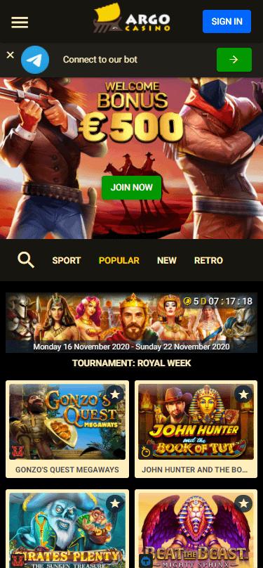 Argo Casino Bonus