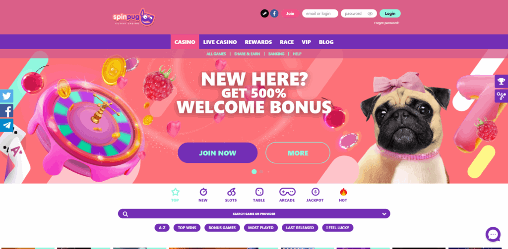 spin pug casino review