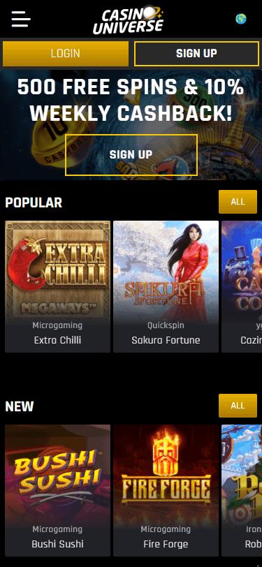 Universe Casino Bonus