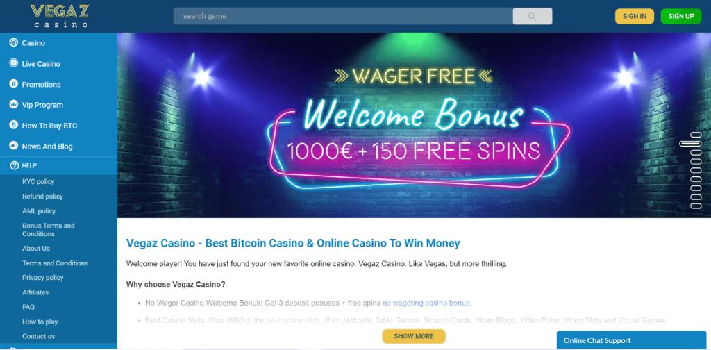 Vegaz casino review