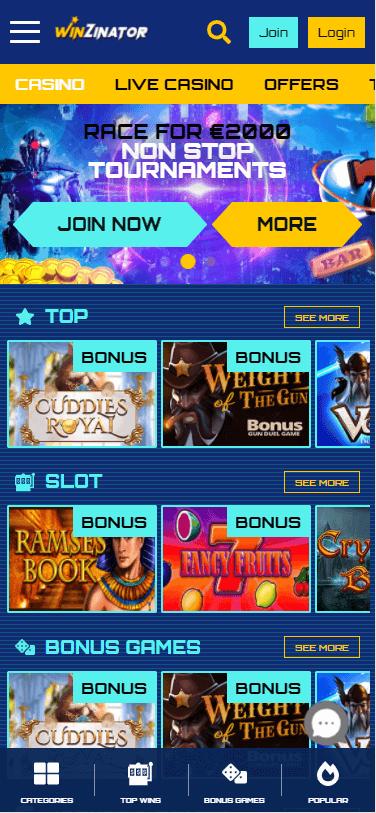 winzinator casino bonus